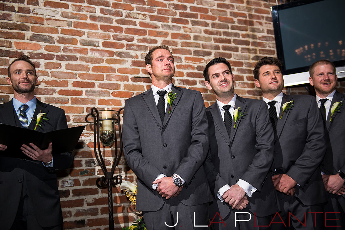 Groom crying at bride walk down aisle | Mile High Station Wedding | Denver Wedding Photographer | J. La Plante Photo