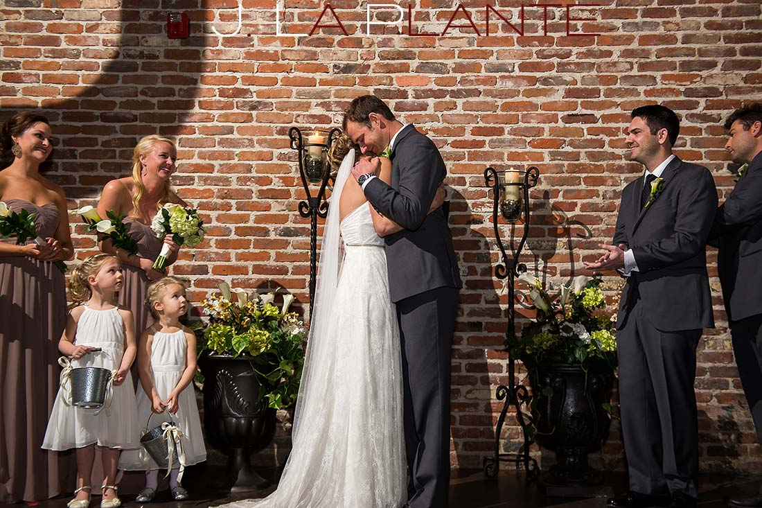 First kiss   Mile High Station Wedding   Denver Wedding Photographer   J. La Plante Photo