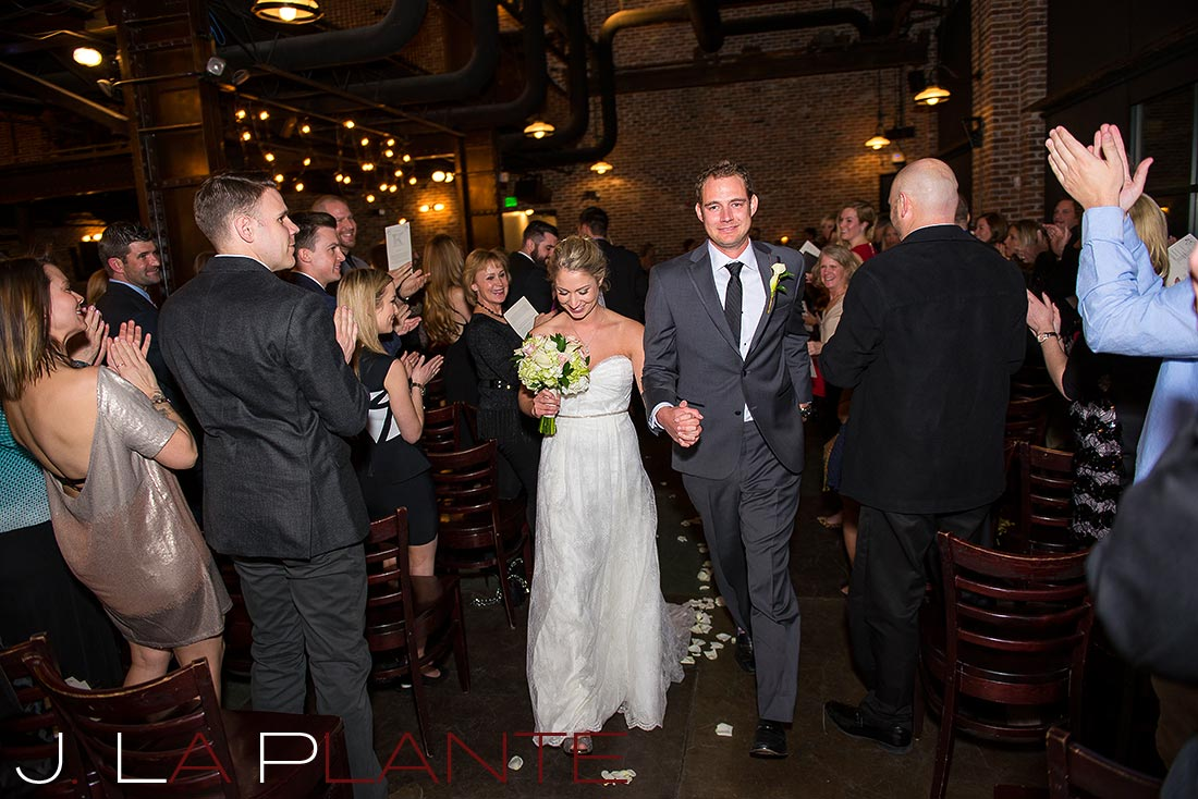 Bride and groom recessional   Mile High Station Wedding   Denver Wedding Photographer   J. La Plante Photo