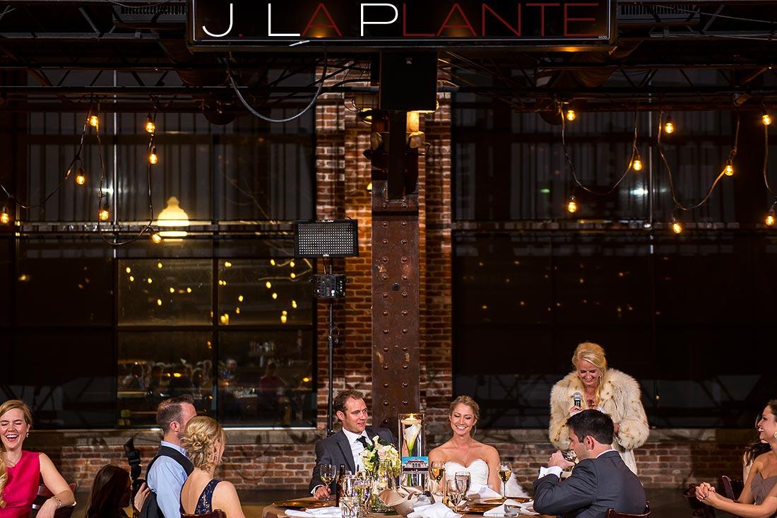 Maid of Honor toast   Mile High Station Wedding   Denver Wedding Photographer   J. La Plante Photo