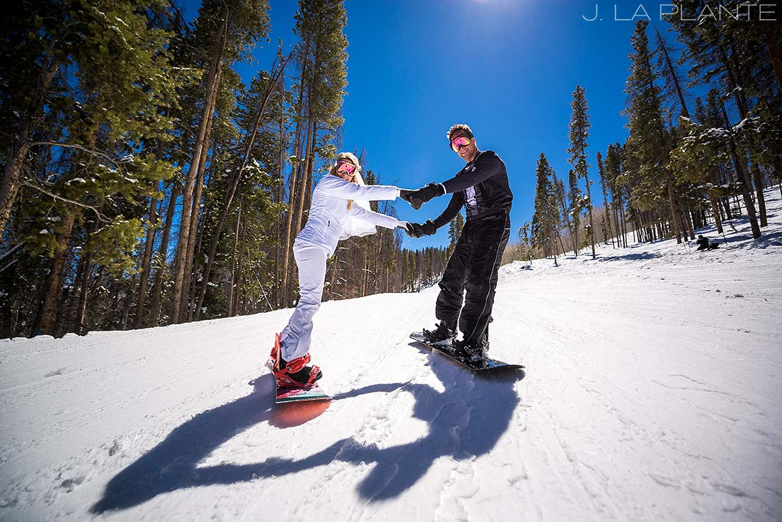 J. LaPlante Photo | Rocky Mountain Wedding Photographer | Beaver Creek Mountain Wedding | Bride And Groom Snowboarding