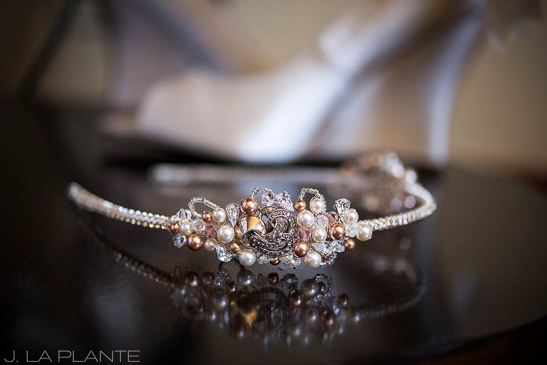 J. LaPlante Photo | Rocky Mountain Wedding Photographer | Beaver Creek Resort Wedding | Detail Photo Wedding Headband