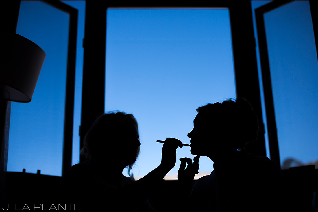 J. LaPlante Photo | Rocky Mountain Wedding Photographer | Beaver Creek Resort Wedding | Bride Getting Makeup Done