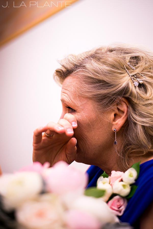 J. La Plante Photo | Denver Wedding Photographer | University of Denver Wedding | Fritz Knoebel Wedding | Mother of Bride Crying