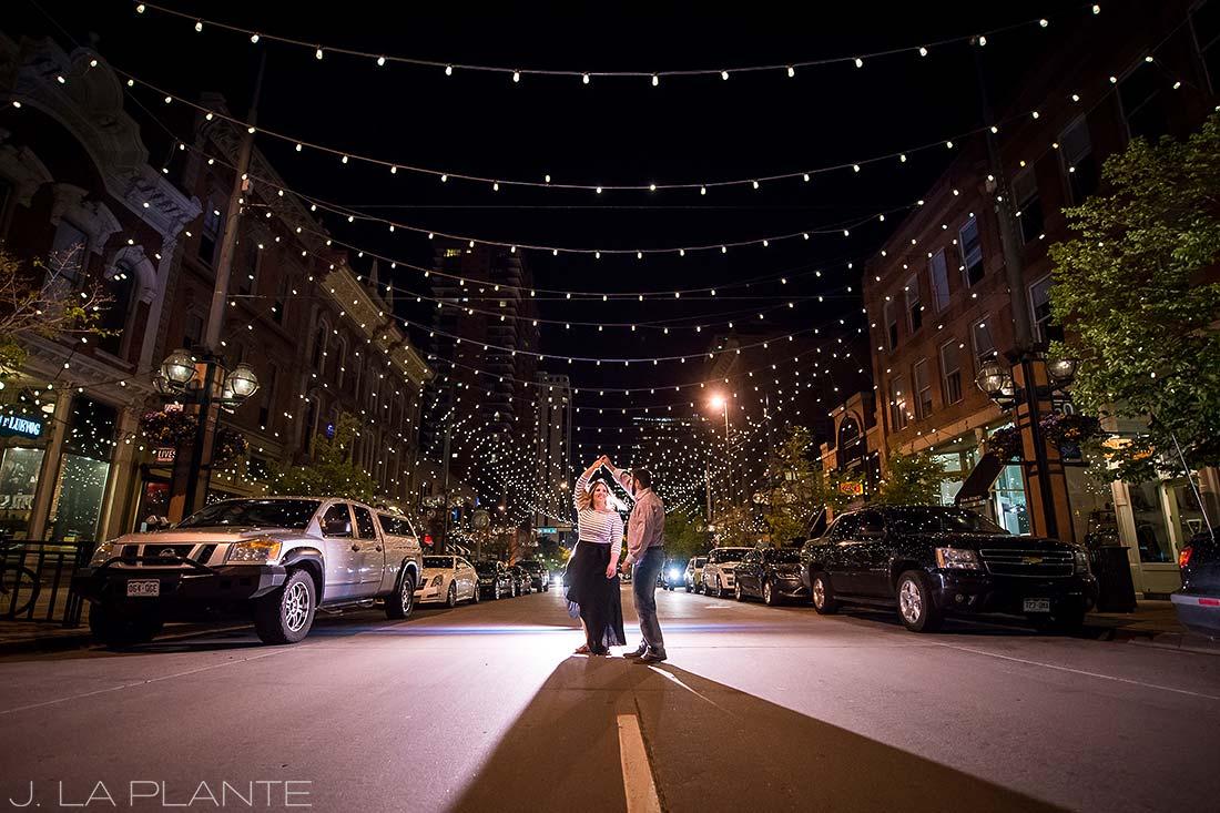 J. La Plante Photo | Denver Wedding Photographer | Larimer Square Engagement | Couple In Street Larimer Square