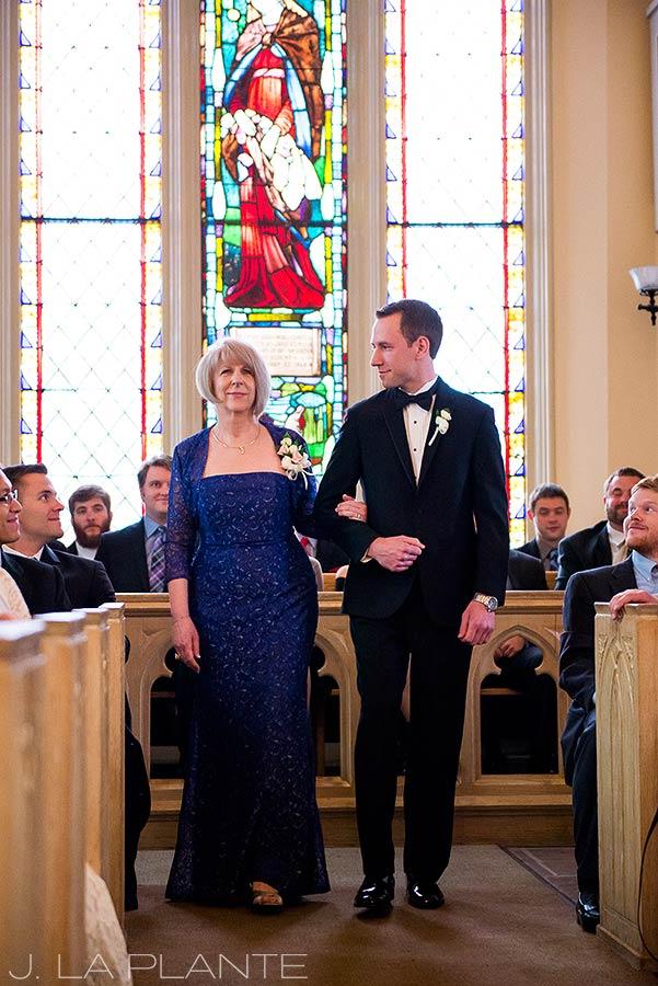 J. La Plante Photo | Denver Wedding Photographer | University of Denver Wedding | Evans Chapel Wedding | Mother Walking Son Down Aisle