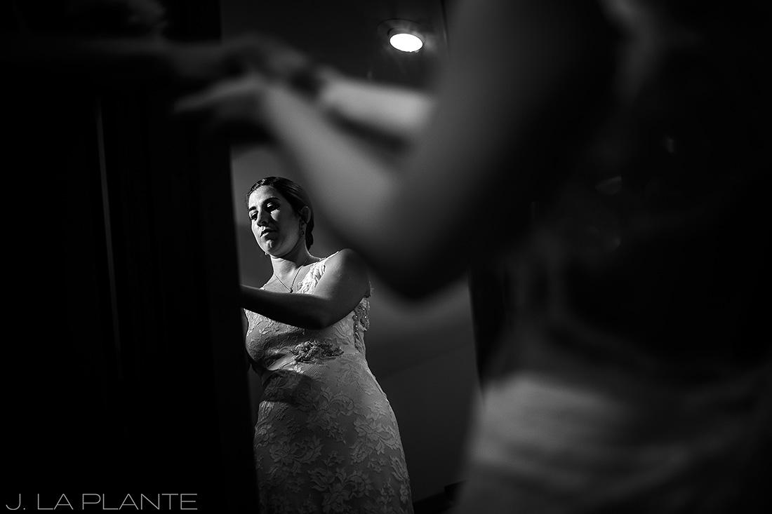 J. La Plante Photo | Boulder Wedding Photographer | Planet Bluegrass Wedding | Bride Reflection In Mirror