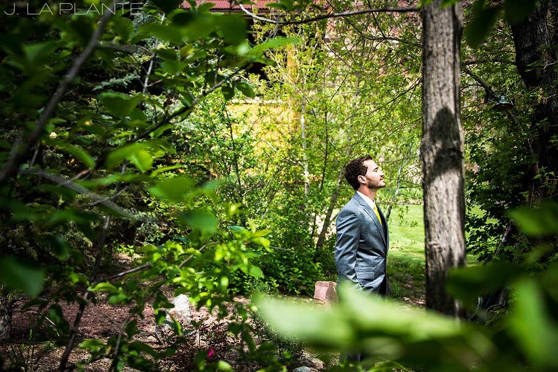 J. La Plante Photo | Boulder Wedding Photographer | Planet Bluegrass Wedding | Groom Waiting For Bride