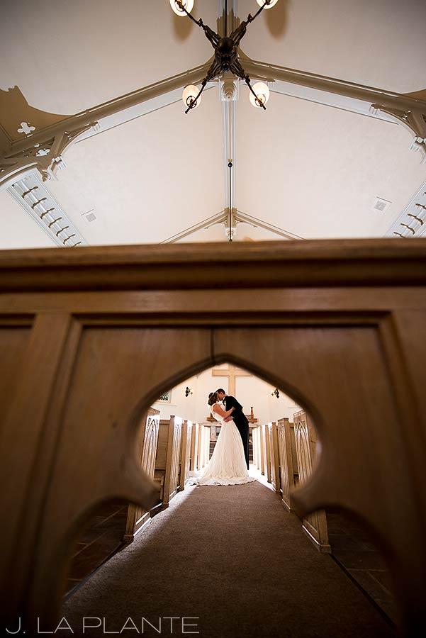J. La Plante Photo | Denver Wedding Photographer | University of Denver Wedding | Evans Chapel Wedding | Bride and Groom Alone in Chapel
