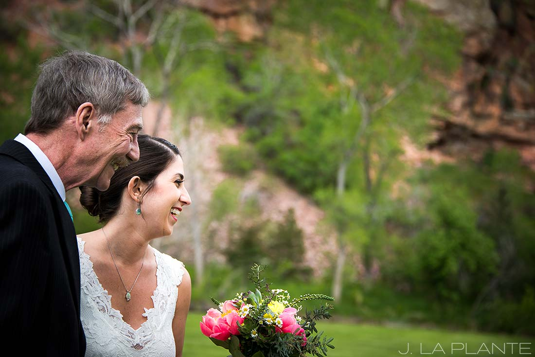 J. La Plante Photo | Boulder Wedding Photographer | Planet Bluegrass Wedding | Bride With Father of Groom