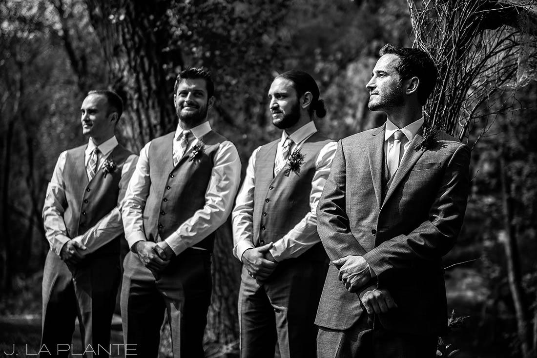 J. La Plante Photo | Boulder Wedding Photographer | Planet Bluegrass Wedding | Groom Watching Bride Walk Down Aisle
