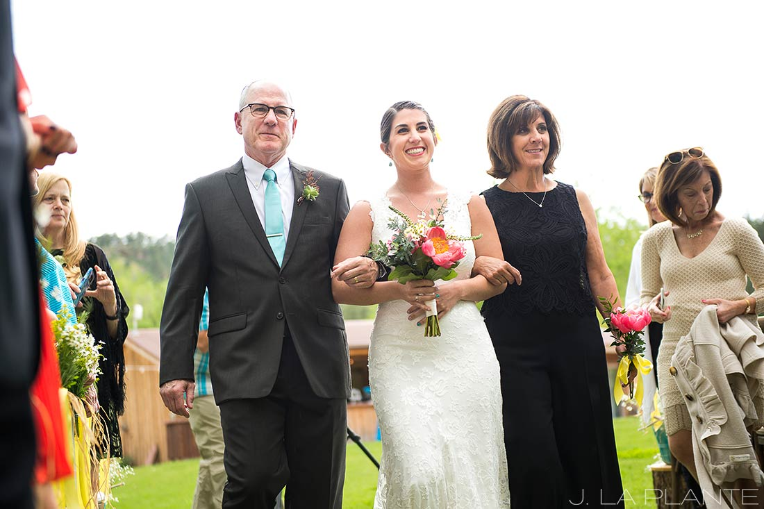 J. La Plante Photo | Boulder Wedding Photographer | Planet Bluegrass Wedding | Bride Walking Down Aisle