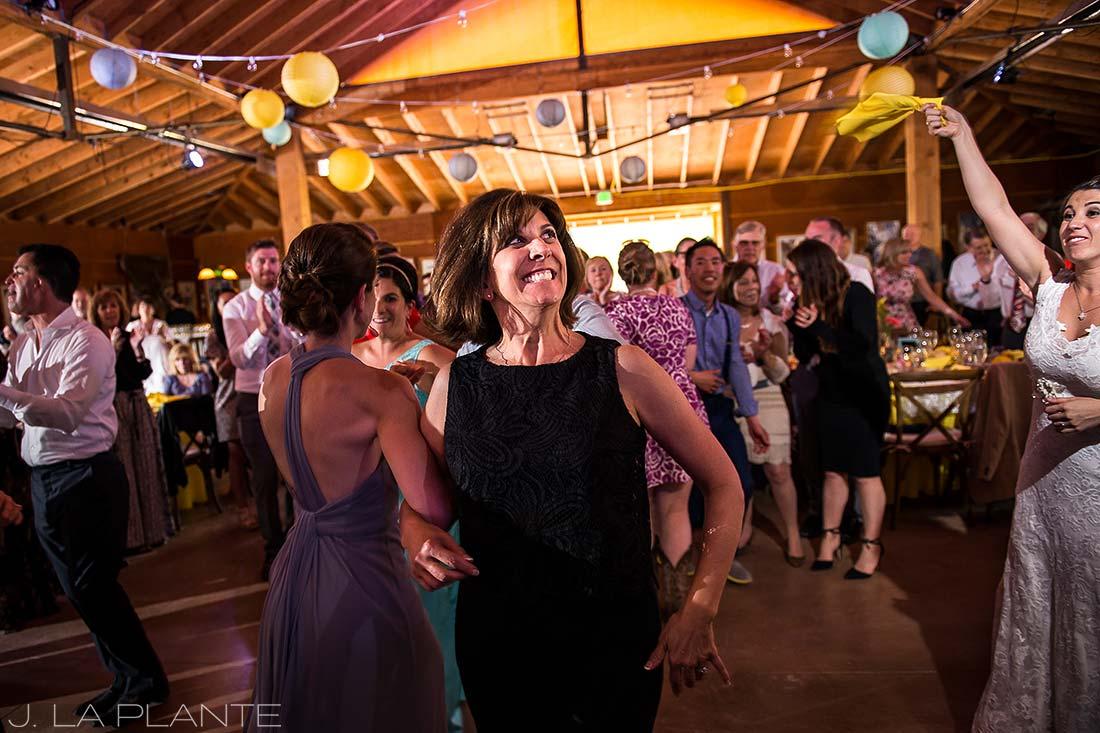 J. La Plante Photo | Boulder Wedding Photographer | Planet Bluegrass Wedding | Guests dancing wedding hora