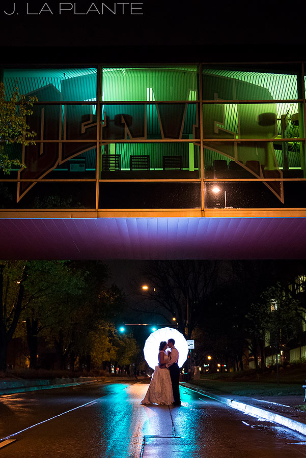 cool nighttime portrait of bride and groom