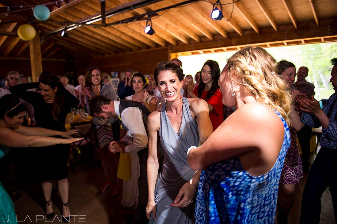 J. LaPlante Photo | Boulder Wedding Photographer | Planet Bluegrass Wedding | Guests dancing wedding hora