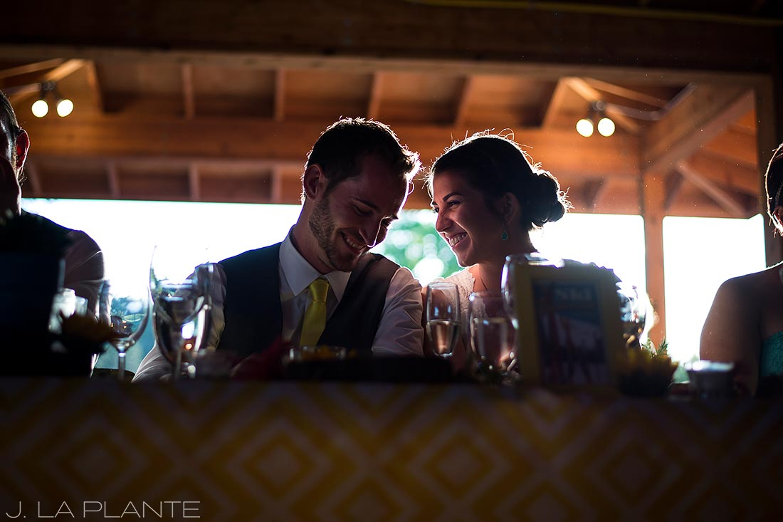 J. La Plante Photo | Boulder Wedding Photographer | Planet Bluegrass Wedding | Bride and groom during toasts