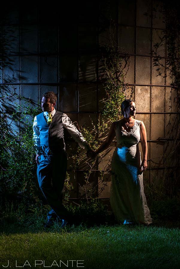 J. LaPlante Photo | Boulder Wedding Photographer | Planet Bluegrass Wedding | Nighttime photo of bride and groom
