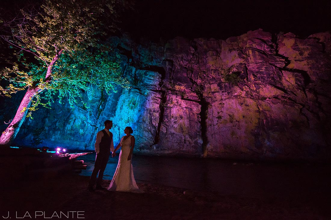 J. LaPlante Photo | Boulder Wedding Photographer | Planet Bluegrass Wedding | Bride and groom at night by river