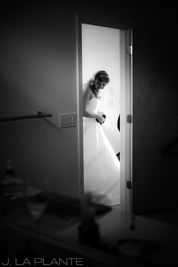 J. La Plante Photo | Denver Wedding Photographer | Sloan Lake Denver Wedding | Bride Silhouette in Doorway