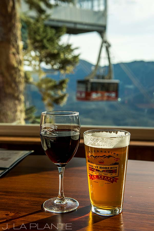 drinking beers at the gondola bar in juneau