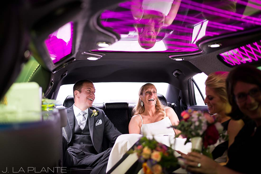 J. La Plante Photo | Denver Wedding Photographer | RiNo District Denver Wedding | Wedding Party in Limo