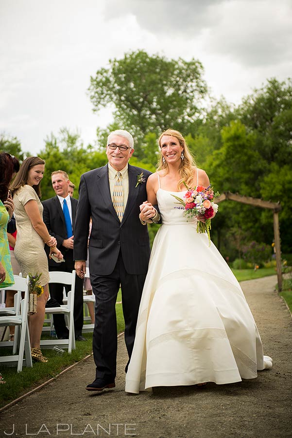 J. La Plante Photo | Denver Wedding Photographer | Chatfield Botanic Gardens Wedding | Father Walking Daughter Down Aisle