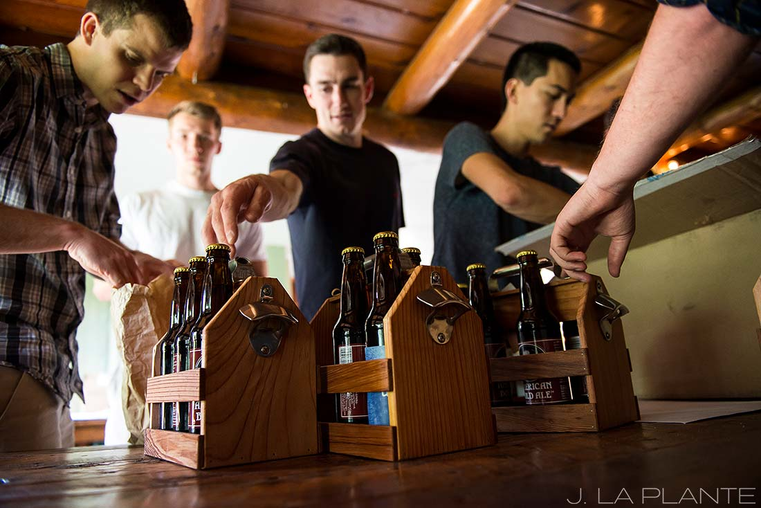 J. LaPlante Photo | Boulder Wedding Photographers | River Bend Wedding | Groomsmen Drinking Beer