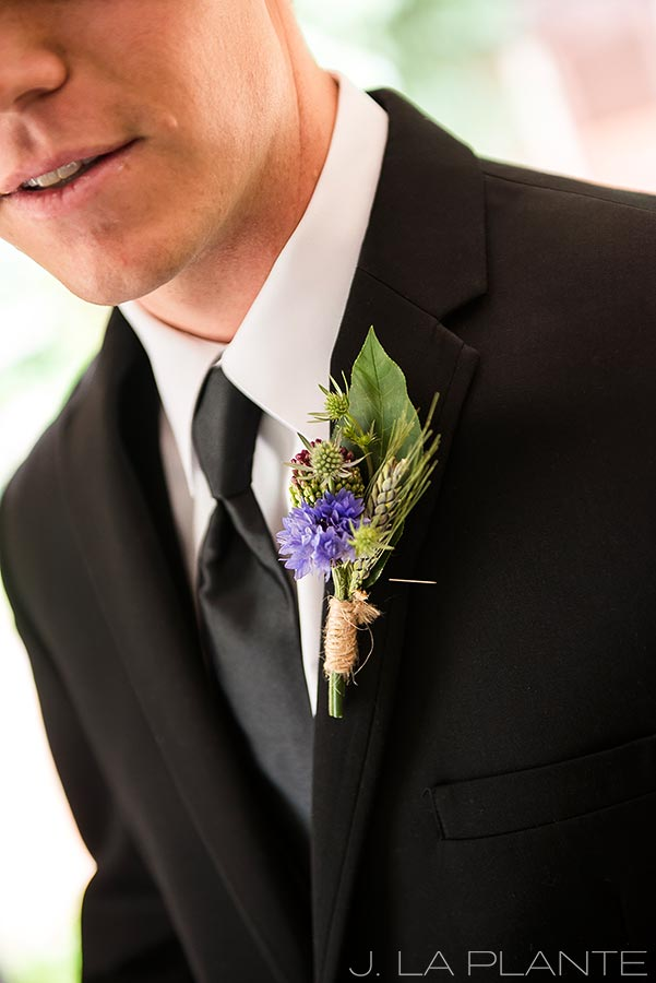 J. LaPlante Photo | Boulder Wedding Photographers | River Bend Wedding | Groom's Boutonniere