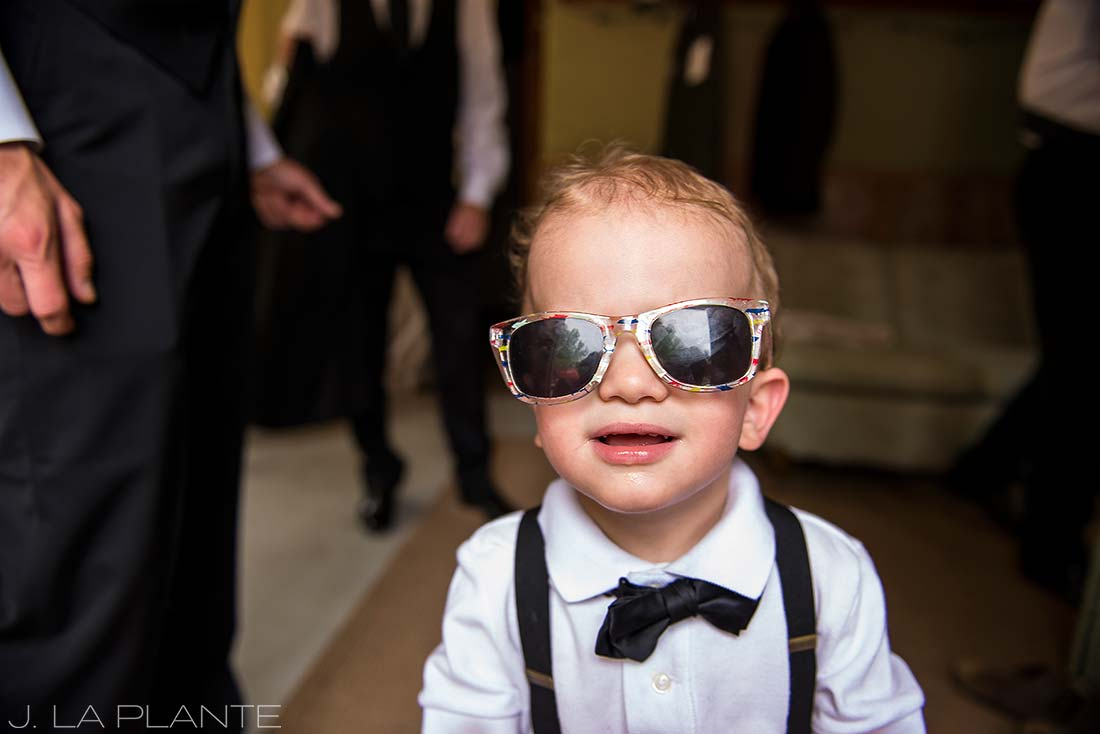 J. LaPlante Photo | Boulder Wedding Photographers | River Bend Wedding | Ring Bearer Wearing Sunglasses