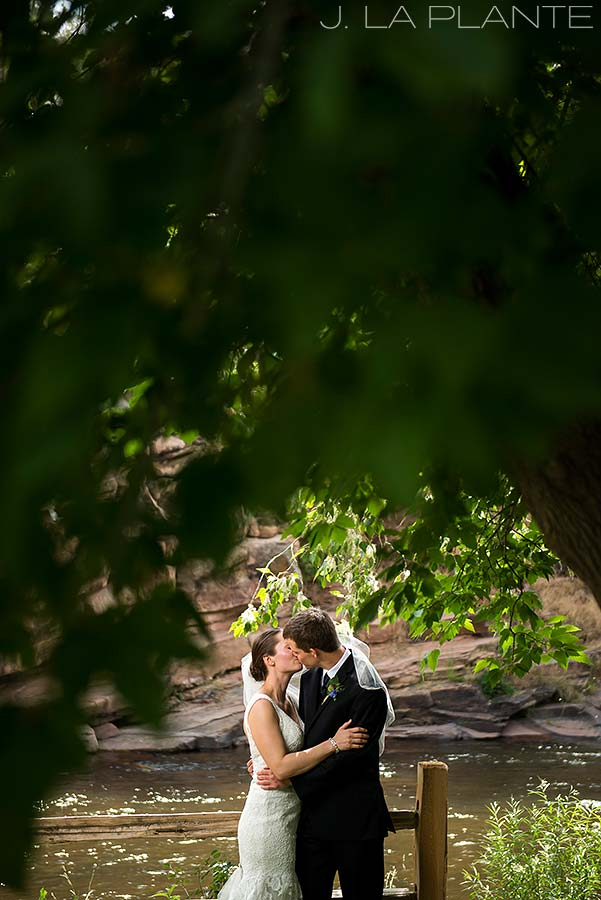 J. LaPlante Photo | Boulder Wedding Photographers | River Bend Wedding | Bride and Groom in Veil