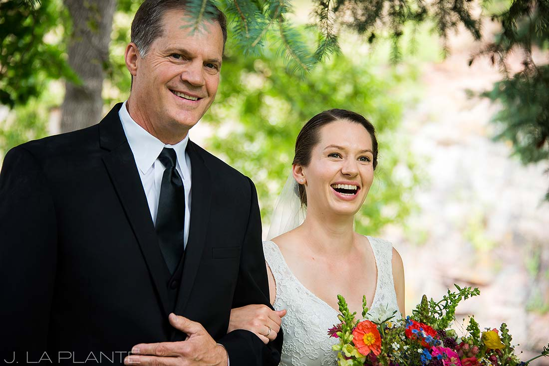 J. LaPlante Photo | Colorado Wedding Photographers | River Bend Wedding | Father Walking Bride Down Aisle