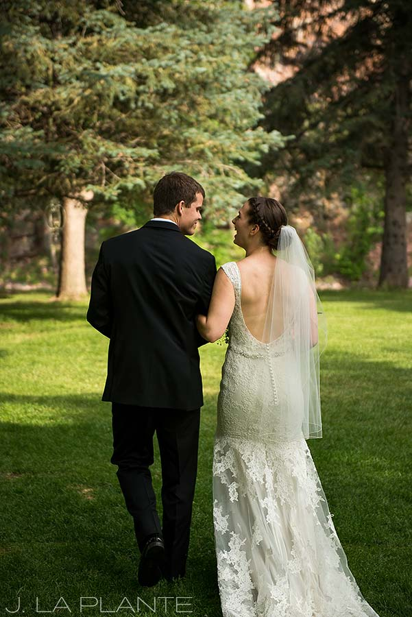 J. LaPlante Photo | Colorado Wedding Photographers | River Bend Wedding | Bride and Groom Leaving Ceremony