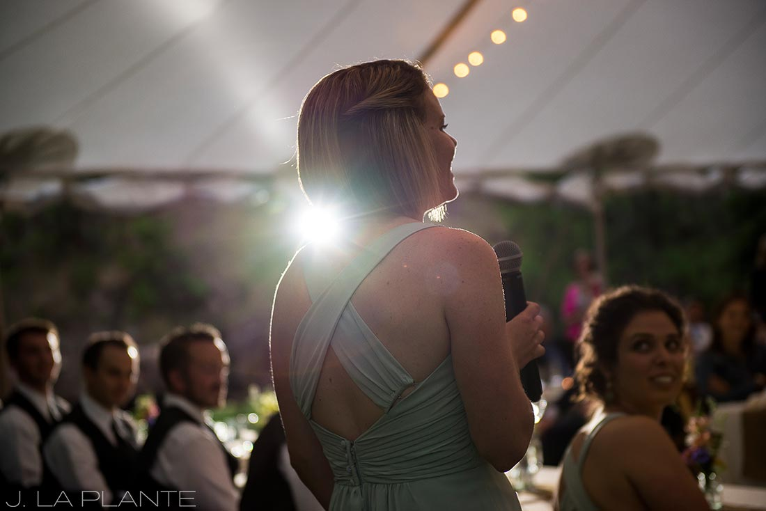J. LaPlante Photo | Colorado Wedding Photographers | River Bend Wedding | Maid of Honor Toasting