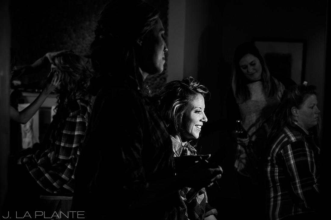 J. La Plante Photo | Winter Park Colorado Wedding Photographer | Devil's Thumb Ranch Wedding | Bride Getting Ready Black and White