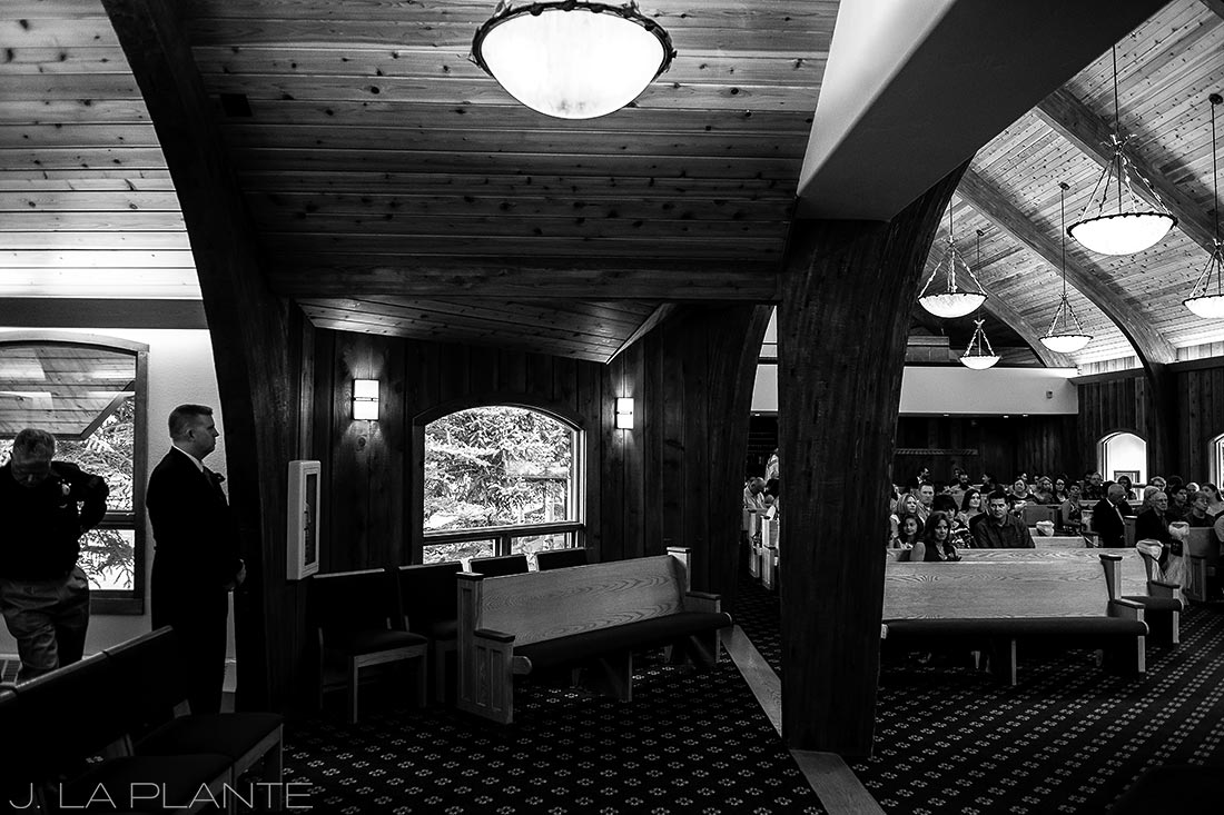 J. La Plante Photo | Vail Wedding Photographers | Vail Interfaith Chapel Wedding | Groom Waiting for Bride