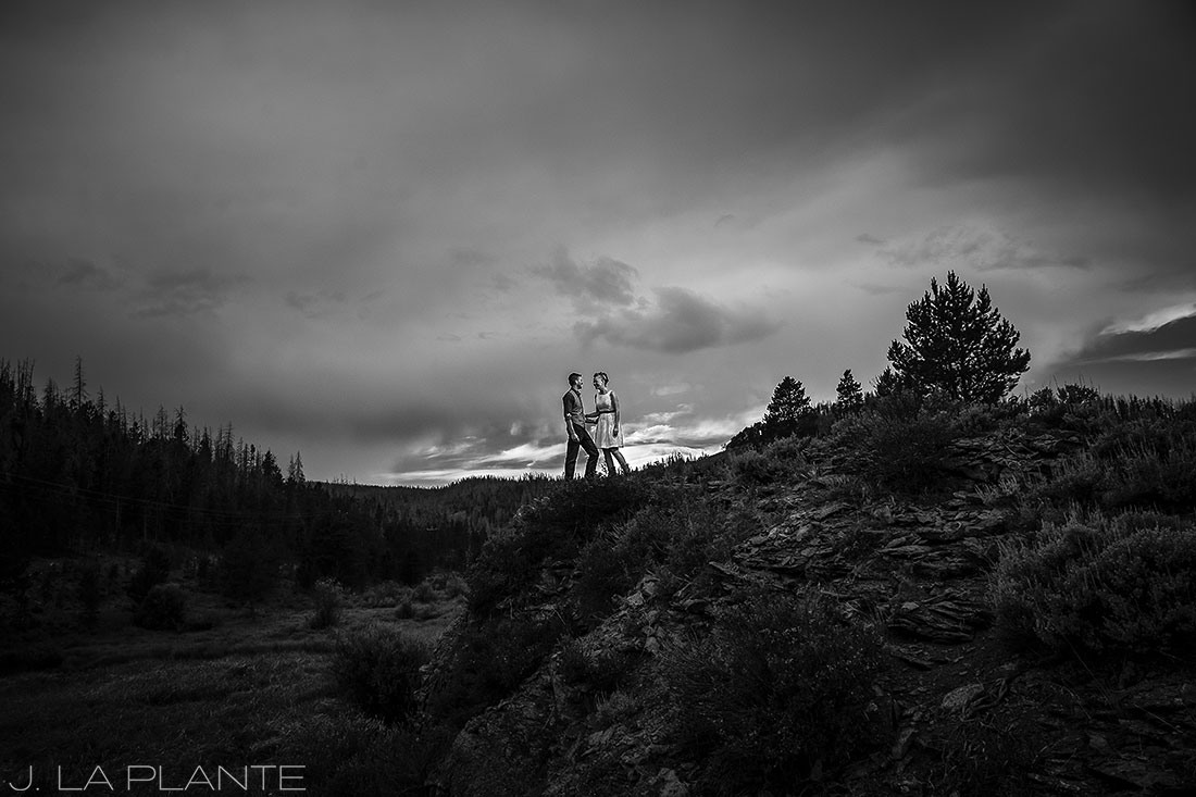 J. La Plante Photo | Grand County Colorado Wedding Photographer | Shadow Mountain Ranch Wedding | Bride and Groom Black and White Portrait