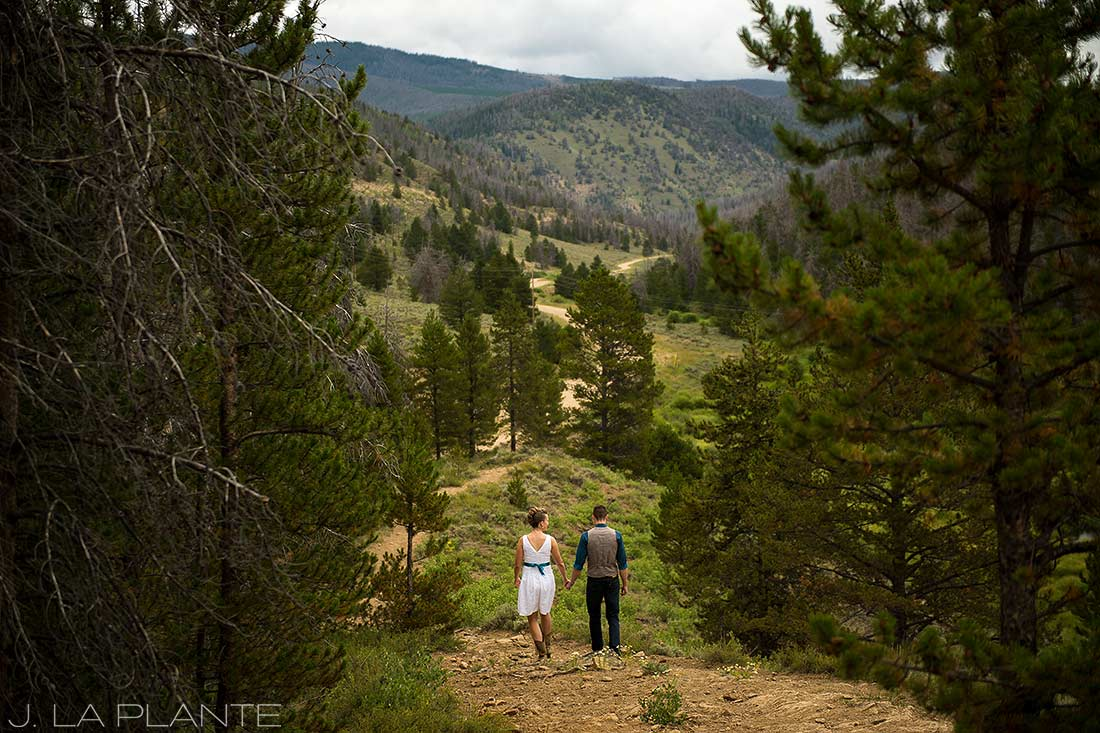 J. La Plante Photo | Granby Wedding Photographer | Shadow Mountain Ranch Wedding | Bride and Groom Hiking