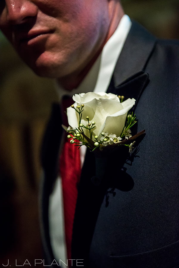 J. La Plante Photo | Winter Park Colorado Wedding Photographer | Devil's Thumb Ranch Wedding | Groomsman Boutonniere