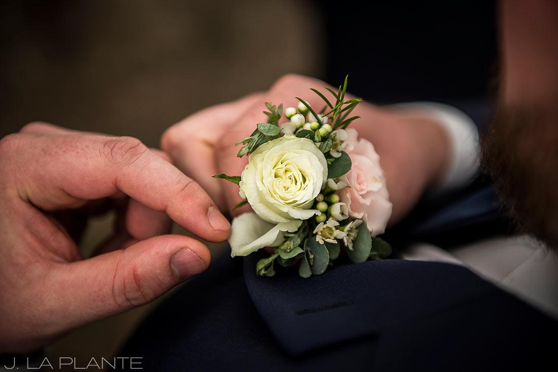 J. LaPlante Photo | Lyons Wedding Photographer | Mon Cheri Wedding | Groom Pinning on Boutonniere