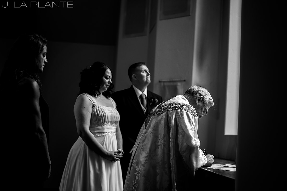 J. La Plante Photo | Vail Wedding Photographers | Vail Interfaith Chapel Wedding | Signing the Marriage License/
