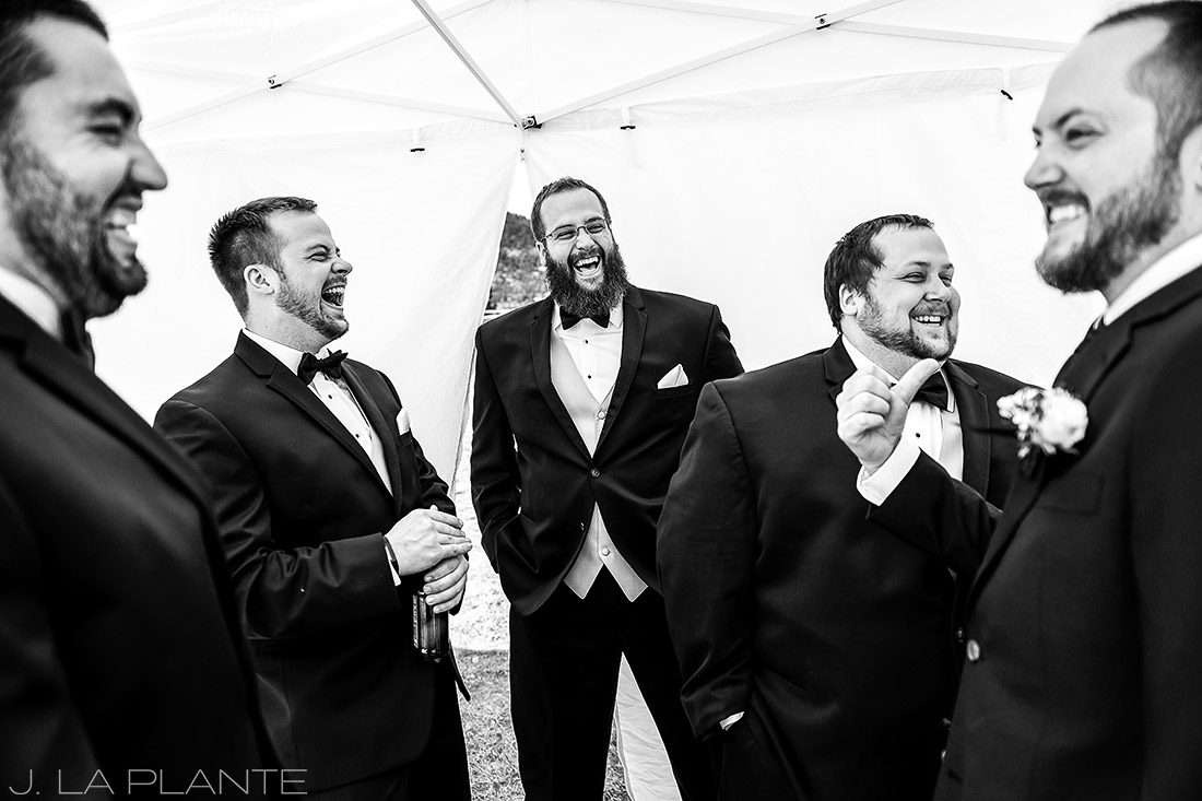 groomsmen hanging out before ceremony