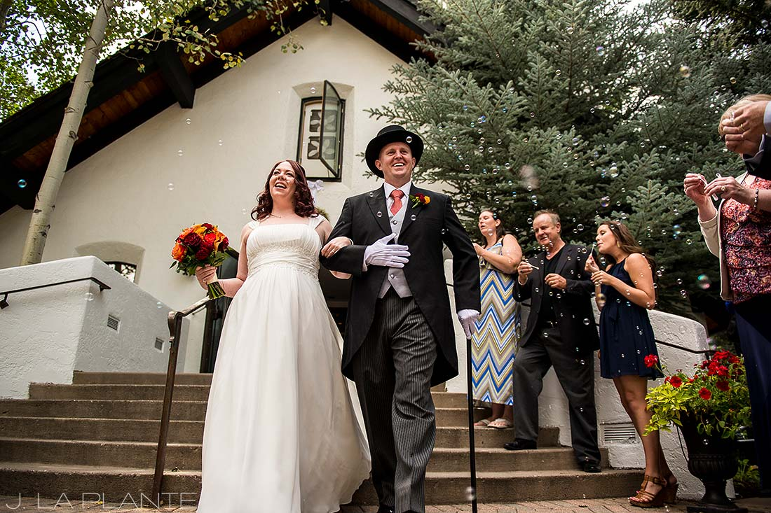 J. La Plante Photo   Vail Wedding Photographers   Vail Interfaith Chapel Wedding   Bubble Send Off