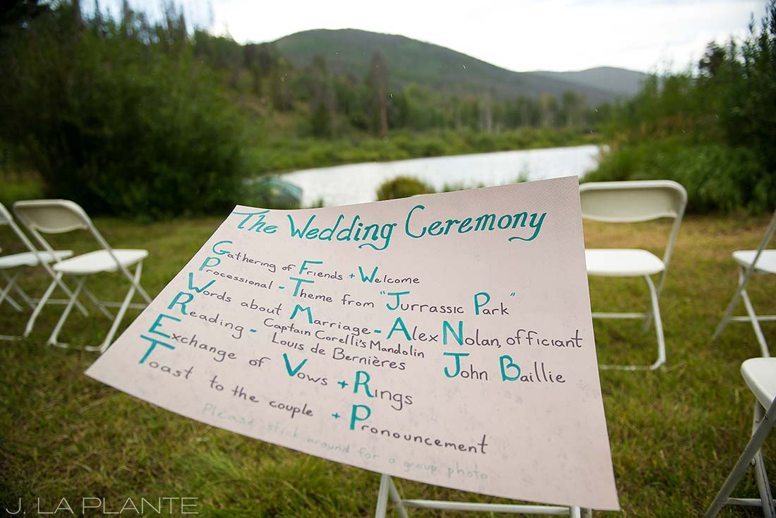 J. La Plante Photo | Colorado Wedding Photographer | Shadow Mountain Ranch Wedding | Wedding Ceremony Signage Inspiration