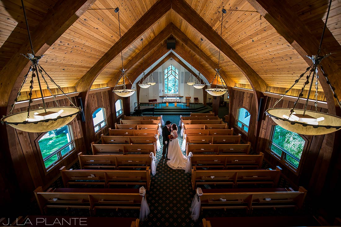 J. La Plante Photo | Vail Wedding Photographers | Vail Interfaith Chapel Wedding | Portrait of Bride and Groom in Church