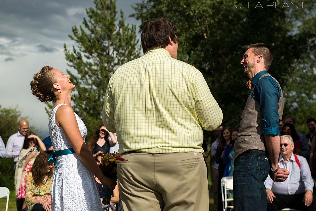 J. La Plante Photo | Colorado Wedding Photographer | Shadow Mountain Ranch Wedding | Bride and Groom Laughing