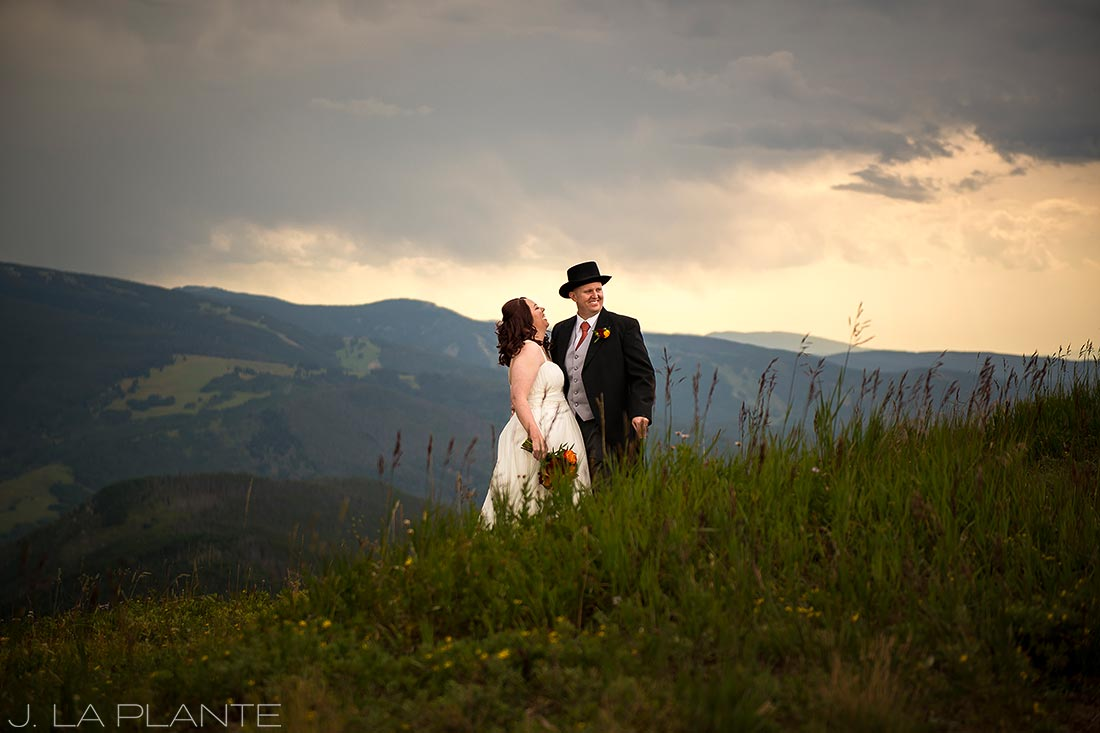 J. La Plante Photo | Vail Wedding Photographers | Vail Mountain Resort Wedding | Portrait of Bride and Groom on Mountain