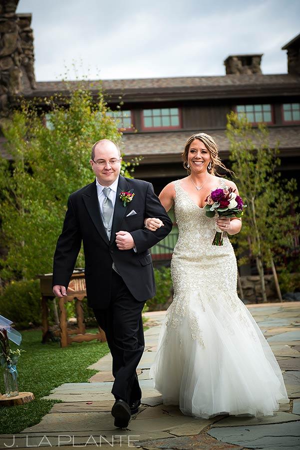 J. La Plante Photo | Winter Park Colorado Wedding Photographer | Devil's Thumb Ranch Wedding | Brother Walking Bride Down Aisle