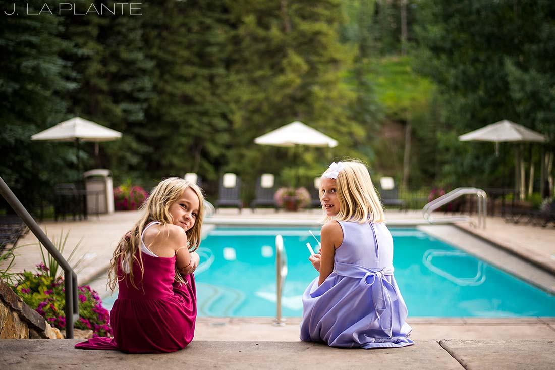 J. La Plante Photo   Vail Wedding Photographers   Lion Square Lodge Wedding   Flower Girls Blowing Bubbles