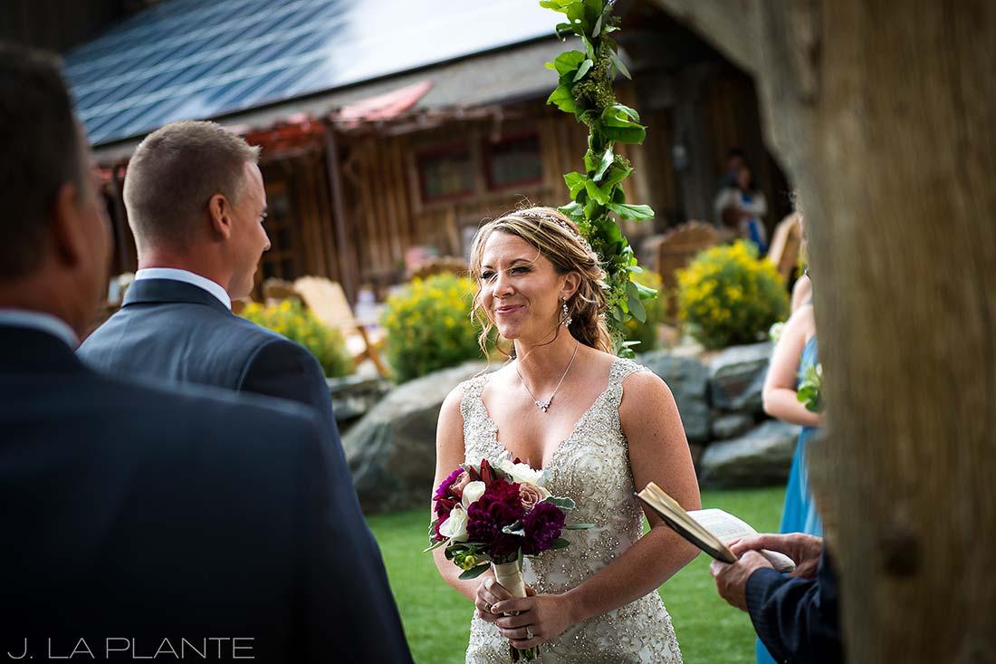 J. La Plante Photo | Winter Park Colorado Wedding Photographer | Devil's Thumb Ranch Wedding | Bride During Ceremony
