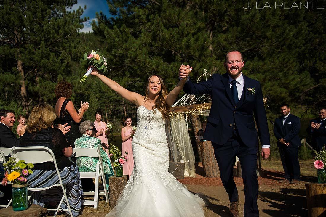 J. LaPlante Photo | Boulder Wedding Photographer | Mon Cheri Wedding | Bride and Groom Exiting Ceremony
